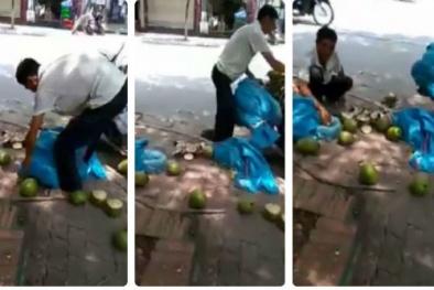 Sự thật bất ngờ về việc dừa xiêm 'tắm' hóa chất giữa phố