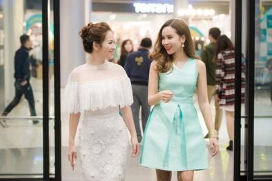Đan Lê đọ sắc cùng Lưu Hương Giang tại sự kiện