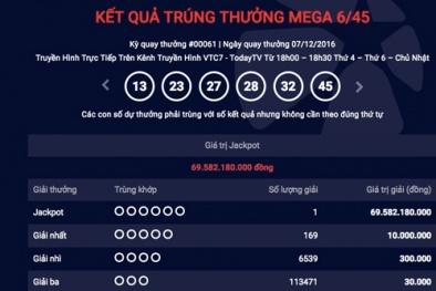 Xổ số Vietlott: Thêm một người trúng giải xổ số gần 70 tỷ đồng