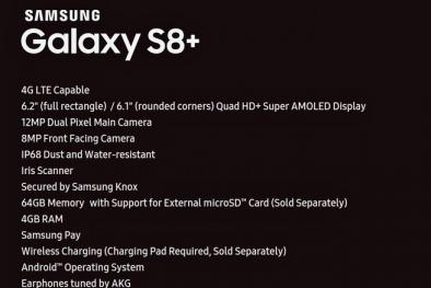 Lộ diện thông số chi tiết của Samsung Galaxy S8+