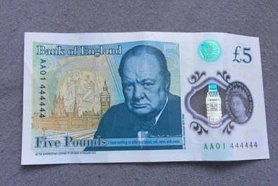 Tờ giấy bạc mệnh giá 5 bảng Anh được mua với giá 'khủng' 1,6 tỷ đồng