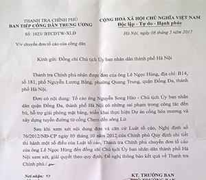 Chủ tịch quận Đống Đa bị tố cáo: Thanh tra Chính phủ đề nghị Chủ tịch UBND TP. Hà Nội vào cuộc