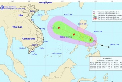 Áp thấp nhiệt đới có khả năng mạnh lên thành bão tiến gần biển Đông