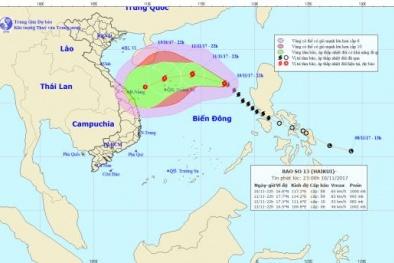 Dự báo thời tiết ngày 11/11: Bão số 13 diễn biến phức tạp