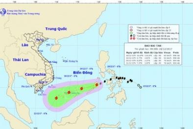 Tin mới nhất về bão Kai-tak: Trưa nay bão sẽ vào Biển Đông