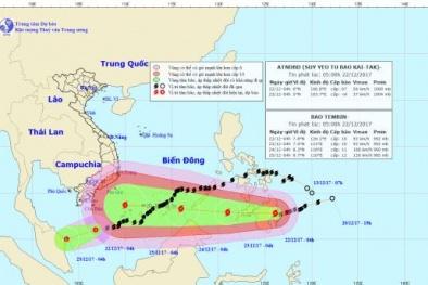 Bão số 15 suy yếu thành áp thấp nhiệt đới, bão Tembin tiến nhanh vào biển Đông