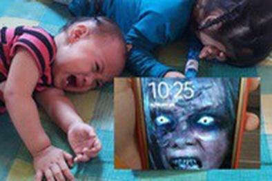 Cài điện thoại hình ma quỷ để dọa con, bà mẹ trẻ 'hứng' gạch đá