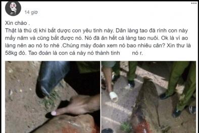 Ninh Bình: Xôn xao cả làng vây bắt được cá trê 'thành tinh' nặng 58 kg bằng người trưởng thành