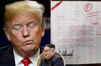 Lộ bức thư Tổng thống Donald Trump gửi ông Kim Jong Un bị sửa lỗi chi chít