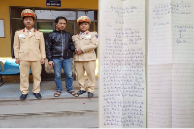 Thoát khỏi 'tử thần', nạn nhân gửi thư cảm ơn hai chiến sỹ CSGT huyện Gia Lâm