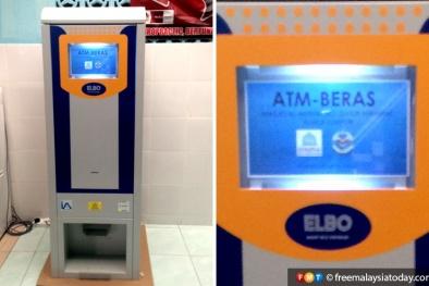 Cận cảnh chiếc máy ATM chỉ rút được gạo ở Malaysia