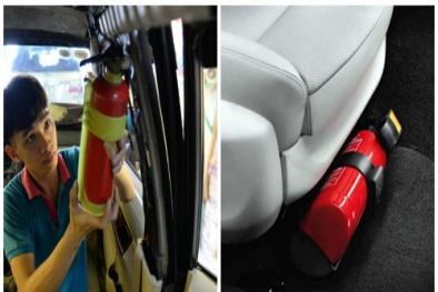 Để bình chữa cháy mini trên ô tô nguy cơ cháy nổ bất ngờ