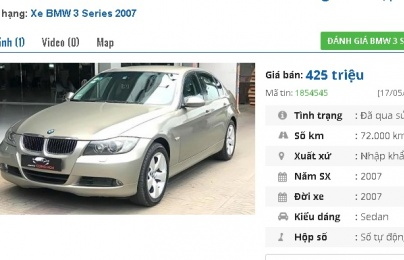 4 chiếc ô tô BMW cũ số tự động này đang rao bán tầm giá 400 triệu tại Việt Nam