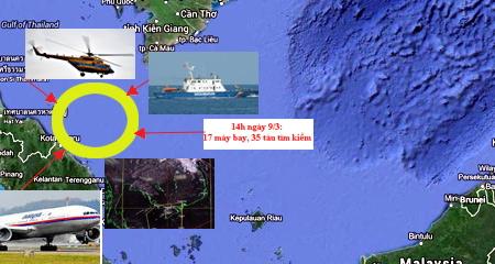 Thông tin tìm kiếm máy bay Boeing Malaysia mất tích trên biển